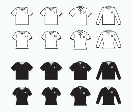 black and white t-shirt, collared clothes with pocket, short and long sleeves shirt for production clothing, advertisement, apparel textile use
