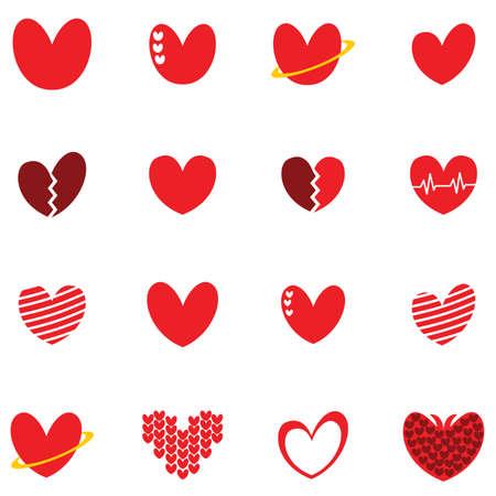 cute love heart set icon sign logo concept