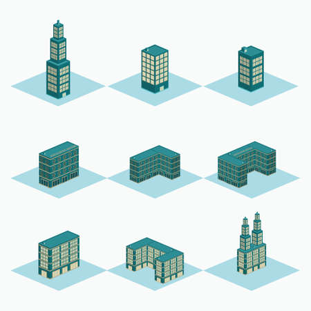 luxury hotel, twin tower, u shape building, mall, super market vector design - isometric construction building set Vectores