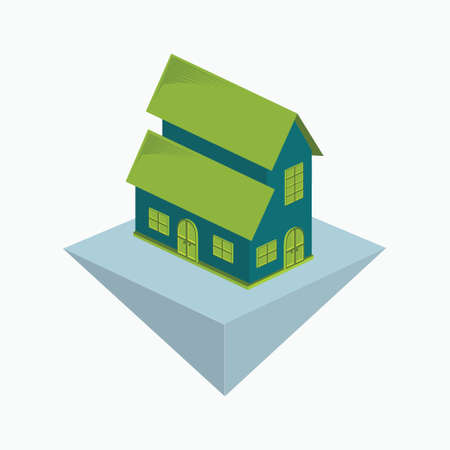 two storey house icon or logo - simple isometric building isolated on white