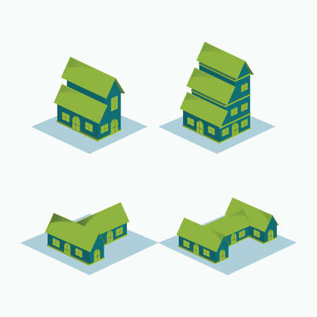 two storey house, three level house, T and H shape House - simple isometric building icon or logo isolated on white Vectores
