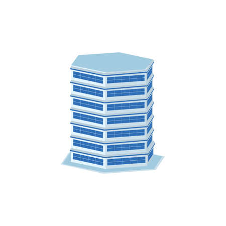 hexagon business tower building - tower, apartment, urban constructions, city scape - 3d isometric building isolated on white
