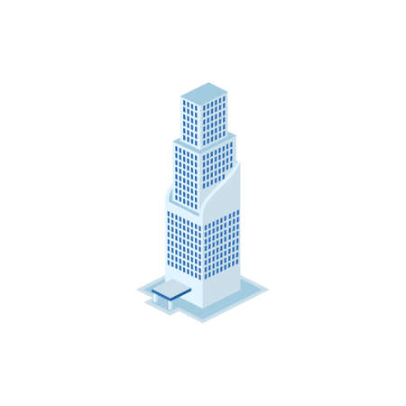 futuristic industrial building - tower, apartment, urban constructions, city scape - 3d isometric building isolated on white