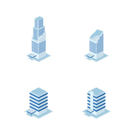 modern tower building set - tower, apartment, urban constructions, city scape - 3d isometric building isolated on white