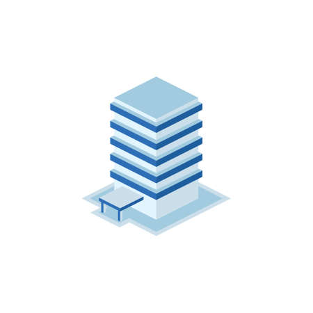 business tower building - tower, apartment, urban constructions, city scape - 3d isometric building isolated on white