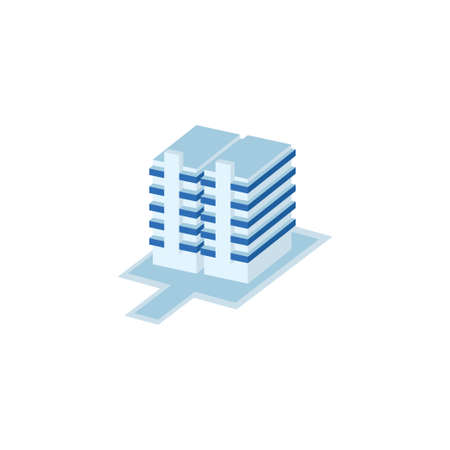 twin tower long pillar building - tower, apartment, urban constructions, city scape - 3d isometric building isolated on white