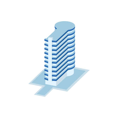 long pillar business tower are connected to circular building - tower, apartment, urban constructions, city scape - 3d isometric building isolated on white