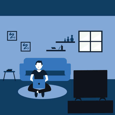 learning and watching a television, a young man casually sit on carpet in his favorite living room - two tone flat cartoons illustrations Vectores