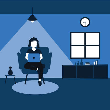 enjoying holiday with his laptop, a woman sit on his favorite sofa at home - two tone flat cartoons illustrations Vectores