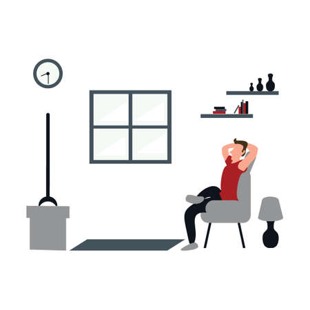 a man casually watching television at home - flat illustrations isolated on white Vectores
