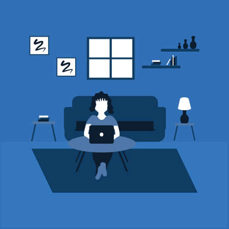 a woman enjoy work for home using laptop - two tone flat illustrations