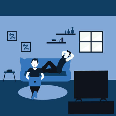 two man surfing internet with his laptop and watching television - two tone flat cartoons illustrations