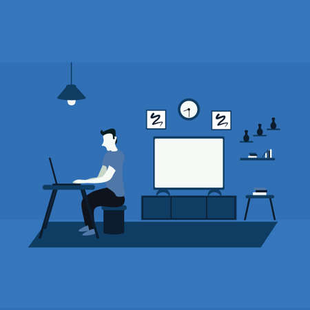 a man work from home using laptop - a man casually watching television at home - two tone flat illustrations