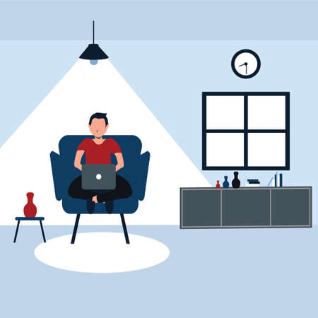 working from home, a man casually sit on his favorite sofa - colorful flat cartoons illustrations