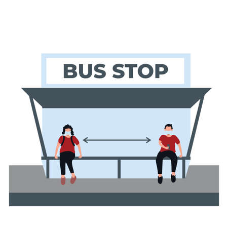 a man and woman doing social distancing and wear masker at the bus stop - flat illustrations isolated on white