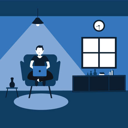 working from home, a man casually sit on his favorite sofa - two tone flat cartoons illustrations Vectores