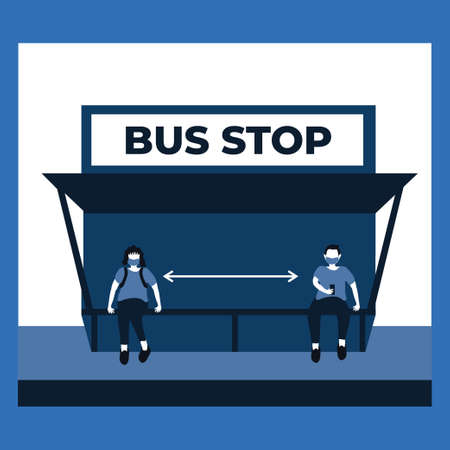 a man and woman doing social distancing and wear masker at the bus stop - two tone flat illustrations Vectores