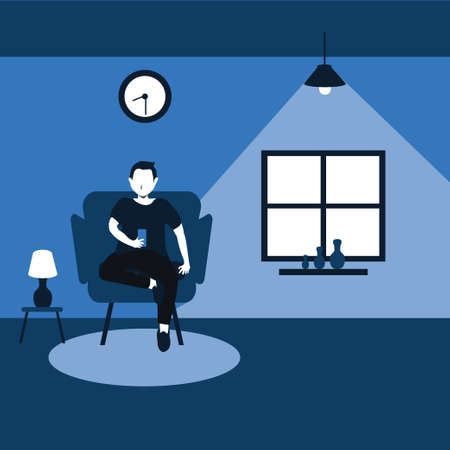 two tone flat cartoons illustrations - a man sitting on his favorite sofa and enjoy with his smart phone at home