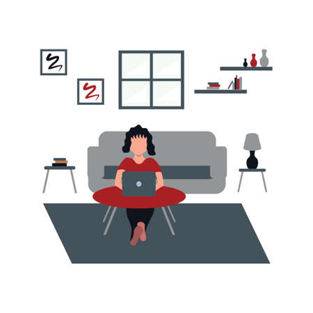 a woman casually work for home using laptop - a man casually watching television at home - flat illustrations isolated on white