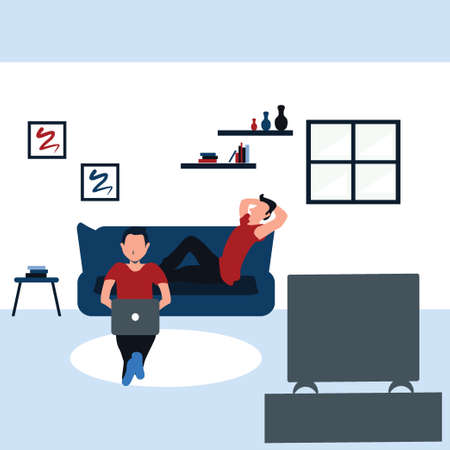 two man surfing internet with his laptop and watching television - colorful flat cartoons illustrations Vectores