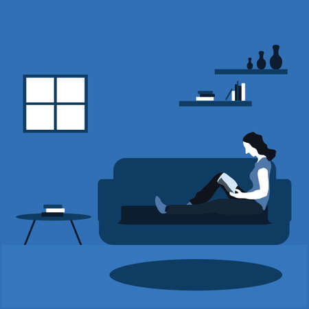a woman reading a magazine at home - two tone flat illustrations