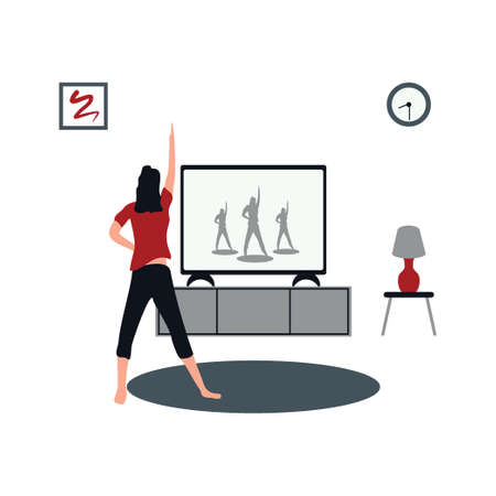women doing aerobics at home - flat illustrations isolated on white