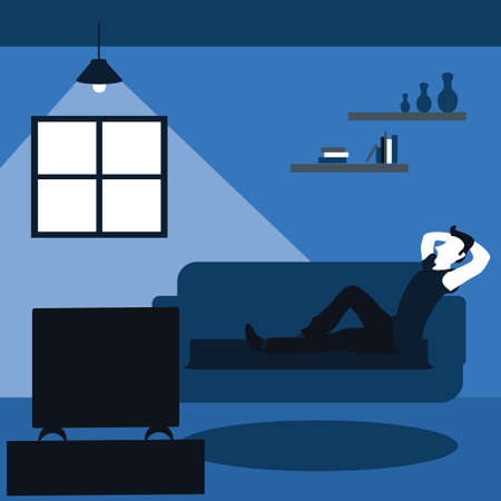 a man casually watching television at the living room - two tone flat cartoons illustrations Vectores