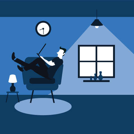 two flat cartoons illustrations - a man enjoying sit on his favorite sofa with his laptop Vectores