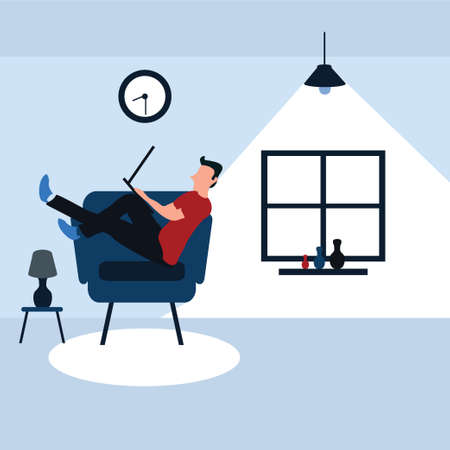a man enjoying sit on his favorite sofa with his laptop- colorful flat cartoons illustrations
