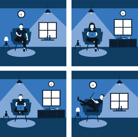 a man and woman casually work from home on the favorite sofa - two tone flat cartoons illustrations set