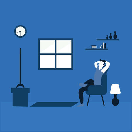 a man watching television at home - two tone flat illustrations