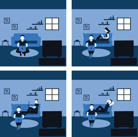 a young man learning and watching a television with his friend - two tone flat cartoons illustrations set Vectores