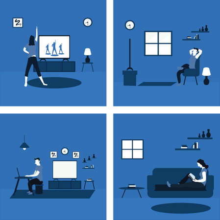women doing aerobics, a man casually work from home, a woman reading a book, a man casually watching television at home - two tone flat illustrations Vectores