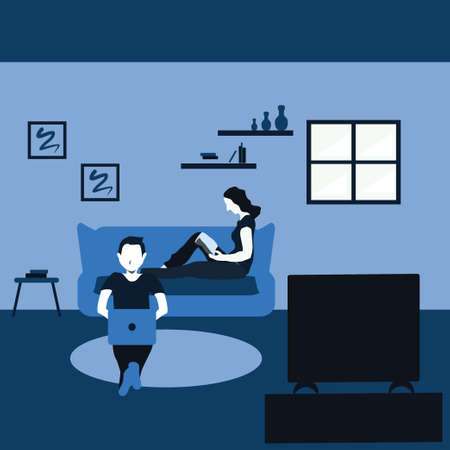 a man surfing internet with his laptop and a woman reading a book - two tone flat cartoons illustrations Vectores
