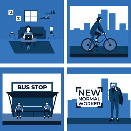 social distancing and wear masker at the bus stop, new normal worker, ride a bike, stay at home - two tone flat illustrations