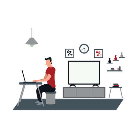 a man work for home using laptop - a man casually watching television at home - flat illustrations isolated on white
