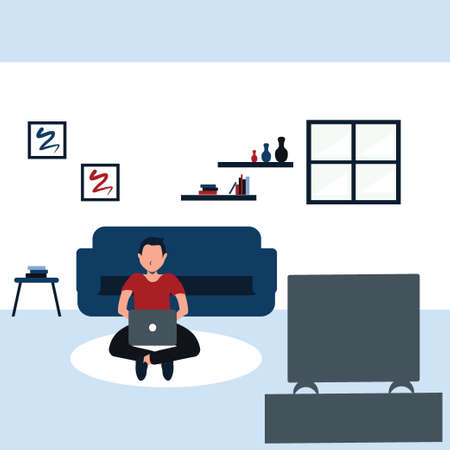 learning and watching a television, a young man casually sit on carpet in his favorite living room - colorful flat cartoons illustrations