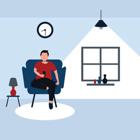 a man sitting on his favorite sofa and enjoy with his smart phone at home - colorful flat cartoons illustrations