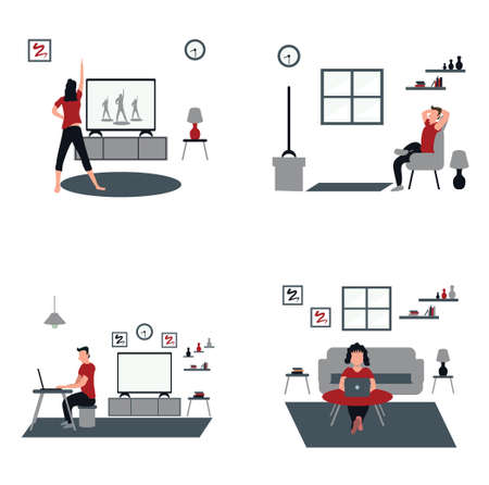 women doing aerobics at home, man and woman casually work from home, a man casually watching television at home - flat illustrations isolated on white Vectores