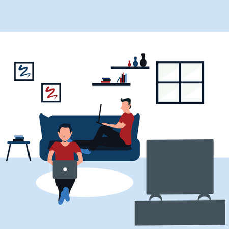 two man surfing internet with their laptop and watching television - colorful flat cartoons illustrations Vectores