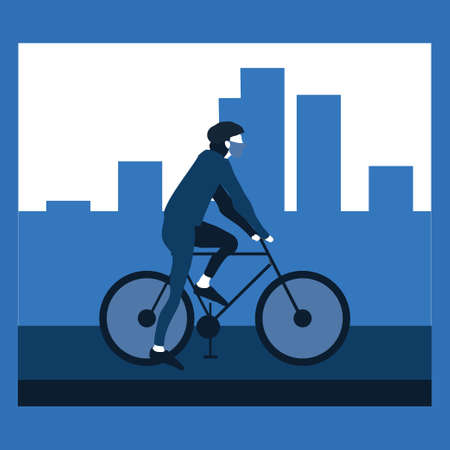 a boy or man riding the bicycle and wearing masker at street - two tone flat illustrations
