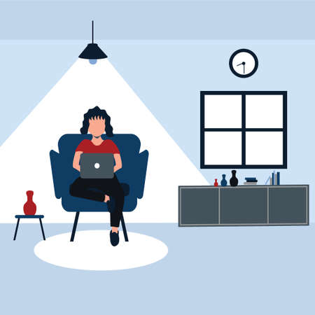 enjoying holiday with his laptop, a woman sit on his favorite sofa at home - colorful flat cartoons illustrations Vectores