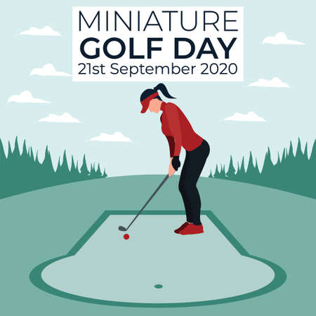 miniature golf day - a women playing golf - colorful flat illustrations