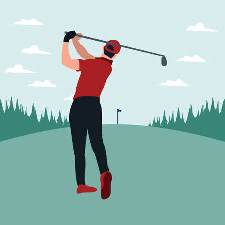 a man swing golf stick in the golf field - colorful flat illustrations Vectores