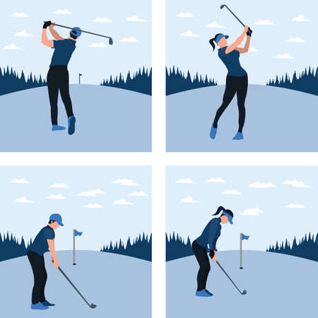 a man and woman training golf on the sunny day - two tone flat illustrations set Vectores
