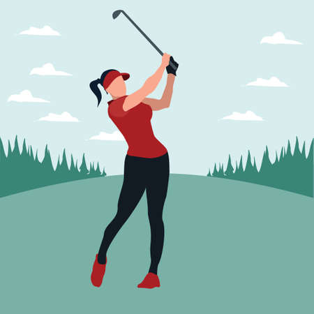 a woman swing golf stick in the golf field - colorful flat illustrations Vectores