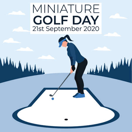 a woman playing golf - miniature golf day - two tone flat illustrations