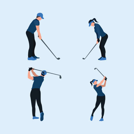 two tone flat illustrations set - playing a golf - a man and woman swing golf stick Vectores