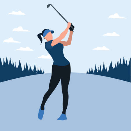 a woman swing golf stick in the golf field - two tone flat illustrations Vectores