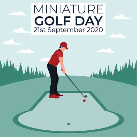 a man playing golf - miniature golf day - colorful flat illustrations